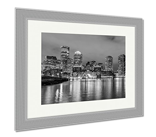 Ashley Framed Prints Boston Down Town Sky Line At Night, Contemporary Decoration, Black/White, 26x30 (frame size), Silver Frame, - Down Boston Town