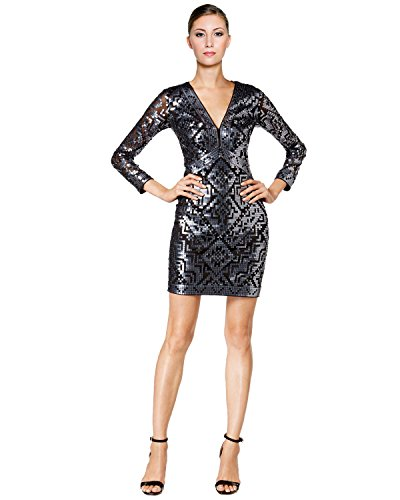 Tadashi Shoji Geo Sequined Illusion Cocktail Dress