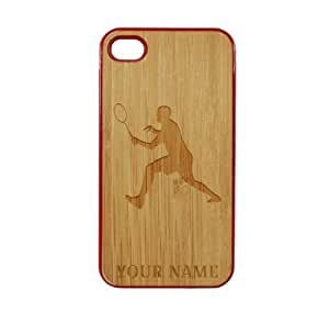 SudysAccessories Personalized Customized Custom Badminton On Wood Engraved Red iPhone 4 Case - For iPhone 4 4S 4G - Designer Real Bamboo Back Case Verizon AT&T Sprint(Send us an Amazon email after purchase with your choice of NAME)