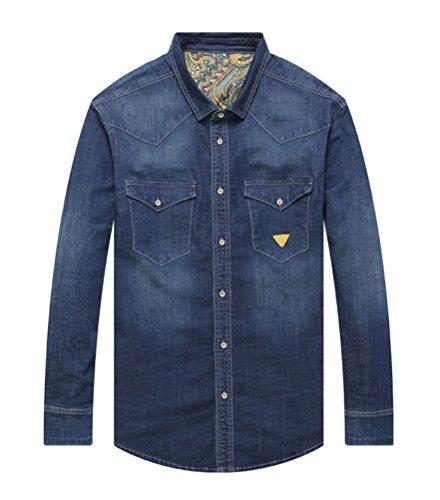 Brinny Jeans Jacke Herren Blau Denim Biker Style Jeansjacke Übergröße