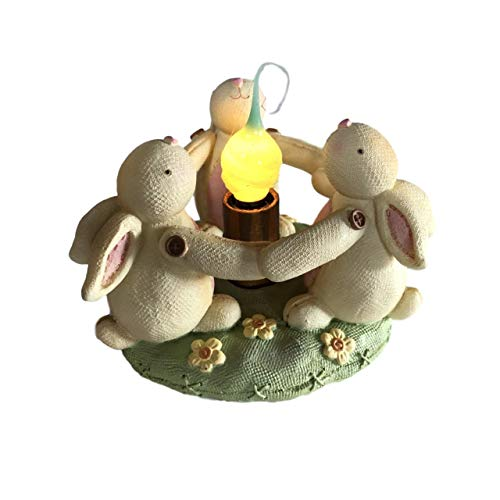 Circle of Bunny Rabbit Friends Night Light Accent Lamp with Silicone Dipped Bulb