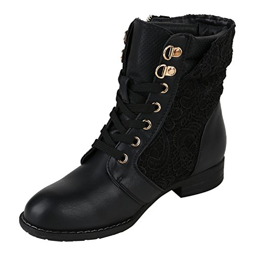 Chain Heel Zip With Boots Zipper Look Stylish Worker Women's Block Flandell® Ankle Quilted Schwarz amp; Leather qgOvy