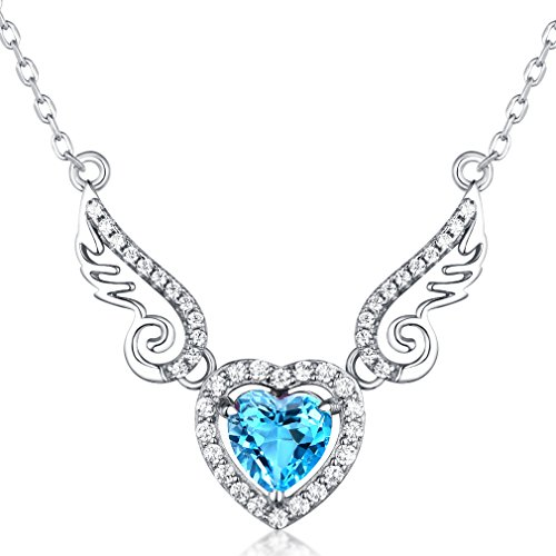 Fine Jewelry Gift for Women 925 Sterling Silver Natural Gemstone Pendant Necklace Heart Love Angel Wings Swiss Blue Topaz