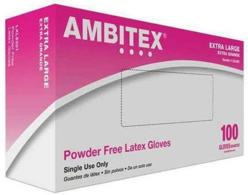 Ambitex Powder Free Latex Gloves, General Purpose Gloves, EXTRA LARGE, XL, LXL5201 - Case of 1000