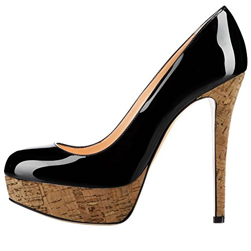 Leopard Patent Leather Heels (Women Fashion Closed Toe Platform High Heel Stiletto Patent Leather Dress Pumps Black Wood Size 13 )