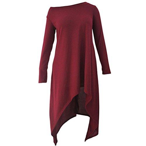 YFFaye Women's Burgundy Asymmetric Hemline Long Sleeve Oversize Sweater (Harry Potter Dressing Up)