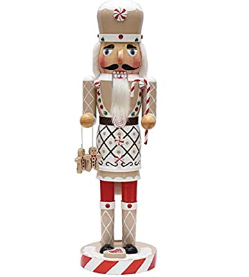 """14"""" Gingerbread Kisses White, Red and Green Decorative Wooden Christmas Nutcracker Chef"""