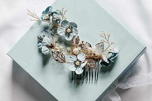 Josephine - something blue hair accessory, bridal hair comb, flower hair comb, wedding hair comb, decorative hair comb by Shirley & Audrey