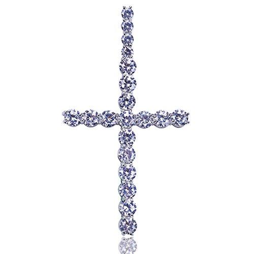 Zircon Cross - JINAO Cubic Zircon Round Cut Cross Silver Diamond Pendant for Men Women
