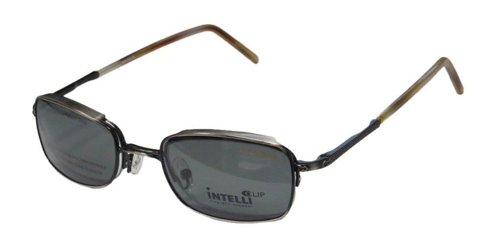 Elite Modern Eyewear Intelli Clip 737 Mens/Womens Designer Half-rim Sunglass Lens Clip-Ons Spring Hinges Eyeglasses/Glasses (48-21-145, Antique Silver/Havana)