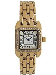 "Make a statement! This Peugeot express the ultimate in luxury Swiss design. 14Kt gold plated tank case for long lasting luster and is 24mm (approx. 1"") and ideal size for most average Women's wrist. Bezel is encrusted with hand set spa..."