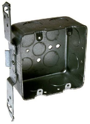 Hubbell-Raco 685 2-Device, 2-1/8-Inch Deep, 1/2-Inch and 3/4-Inch Side Knockouts, Wood/Metal Stud Bracket 4-Inch Square Switch Box, Drawn