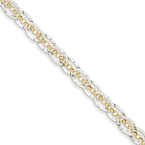 Hammered Oval Link Chain - 14k Yellow Gold Two Tone Chain Weave Oval Links Bracelet 7.25 Inch Link Fancy Fine Jewelry Gifts For Women For Her