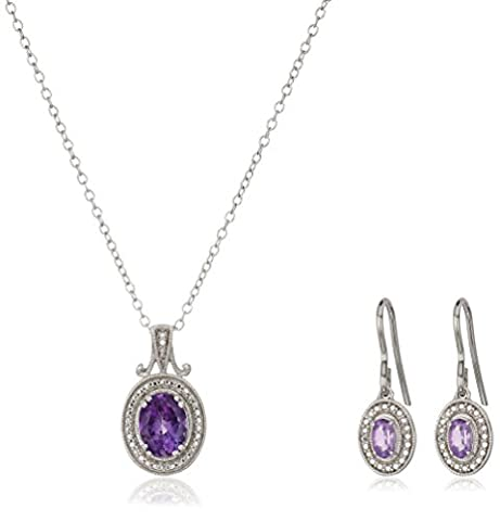 Sterling Silver Amethyst Oval Pendant Necklace & Earring Box Set, 18