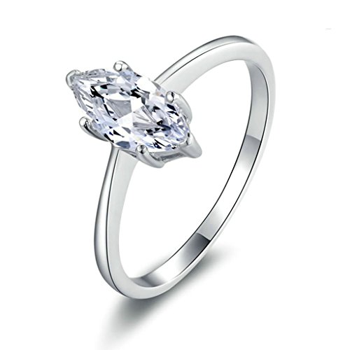 Bishilin Silver Plated Women Engagement Wedding Rings Emerald Cut Cubic Zirconia Inlaid Size 10