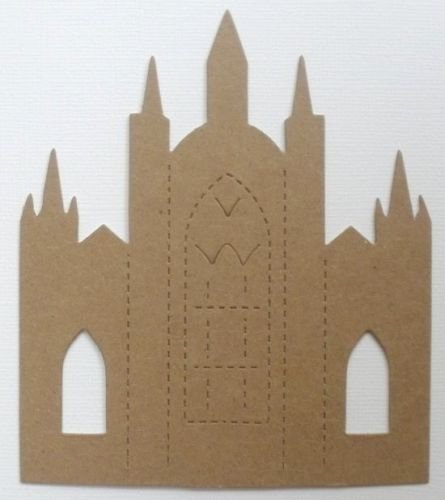 Castle Chipboard (4 CASTLE CATHEDRAL Bare Unfinished Chipboard Die Cuts - 4 1/8