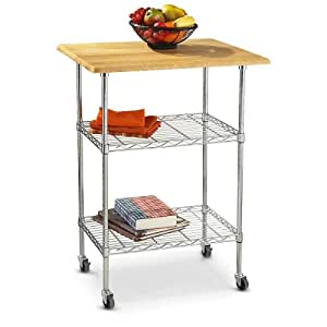 Amazon.com - Linon Home Decor Work Island with Butcher Block Top, Chrome - Kitchen Islands & Carts