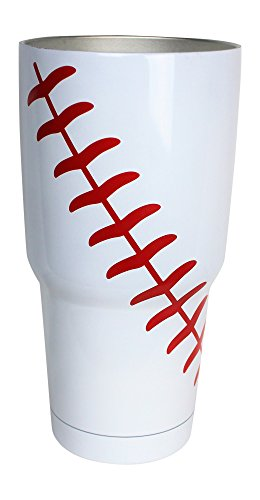 KnitPopShop Baseball Tumbler Cup 30oz Gift for Mom Men Sports Travel Coffee Mug, Stainless Steel, Vacuum Insulated, Keeps Water Cold for 24, Hot for 12 hours (Baseball) by KnitPopShop