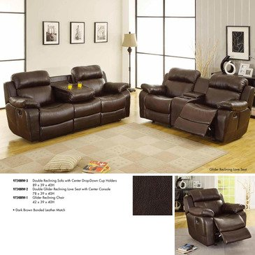 Homelegance Marille 3 Piece Reclining Living Room Set In Brown Leather price