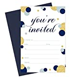Best Invitations With Envelopes Packs - Navy and Gold Invitations with Navy Blue Envelopes Review