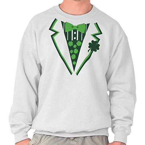 Sweatshirt Tux (Brisco Brands St Patricks Day Leprechaun Fake Printed Tux Sweatshirt White)