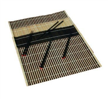 Black Lacquer Bamboo Placemats & Chopsticks