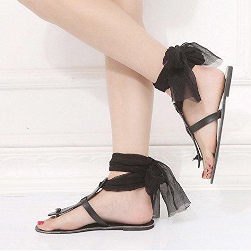 Black Slippers Strap Casual Ankle Flat Ladies Sandals Fashion Cross Women Sandals Ribbon Roman Muium Summer q6O1x7
