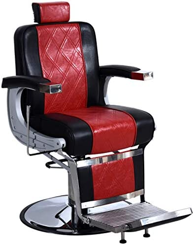 BarberPub Heavy Duty Metal Vintage Barber Chair All Purpose Hydraulic Recline Salon Beauty Spa Shampoo Equipment 3825 Black Red