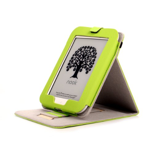 Mulbess - Nook GlowLight 4th Stand Case Cover - Leather Case Cover with Elastic Hand Strap (for Nook GlowLight 4th, Stand Green)