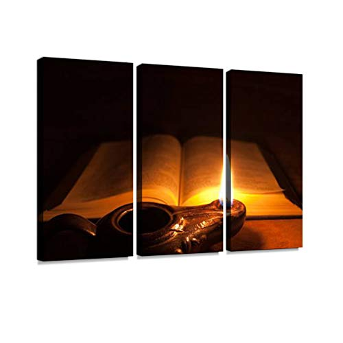 7houarts Opened Bible and Oil lamp Canvas Wall Artwork Poster Modern Home Wall Unique Pattern Wall Decoration Stretched and Framed - 3 Piece