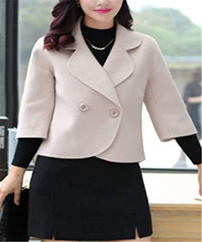 Court Femme Casual Jacken Styles Jeune Mode 4 Slim Outerwear Coat Manteau Printemps Button Classique Revers Bildfarbe Automne Fit Manches Mode Young 3 BtwCddxq8