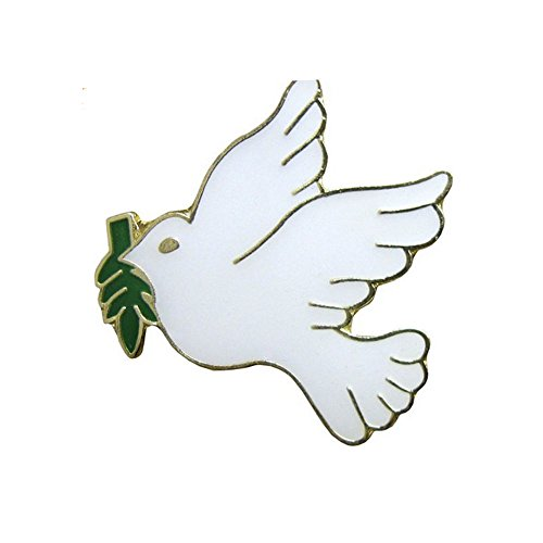 White Dove with Olive Branch Lapel Pin (Pkg of 12) Peace Dove