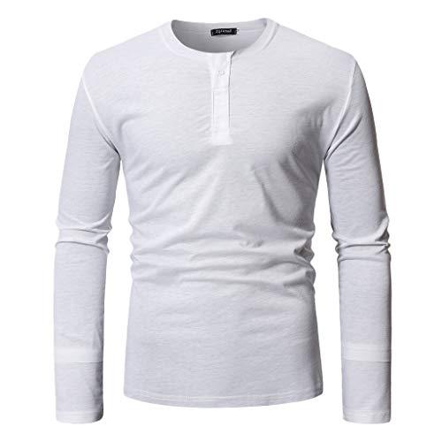 d3e4c3f32ab Pandaie Mens Blouse Shirts Fashion Mens Autumn Long Sleeve Casual Fit  Cotton Round Collar Button Top