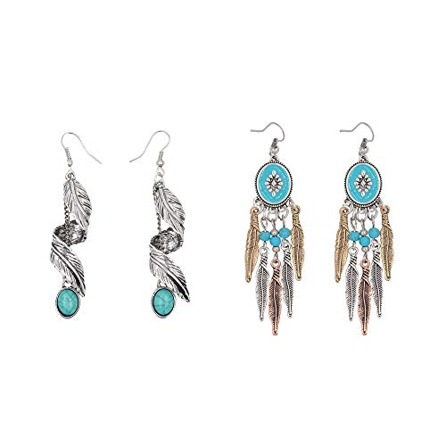(Beauty7 2 Pairs Beauty7 Women Antique Bohemian Style Silver Tone Dream Catcher Statement Feather Dangle Drop Earrings Long Tassels Turquoise Fish Hook End Soiree Daily Wedding Party)