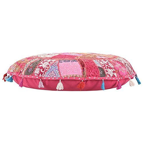 ANJANIYA 32'' Beautiful Bohemian Round Indian Patchwork Pouffe Indian Traditional Home Decorative Handmade Cotton Ottoman Patchwork Foot Stool Floor Cushion Embroidered Decorative Vintage (Pink) by ANJANIYA