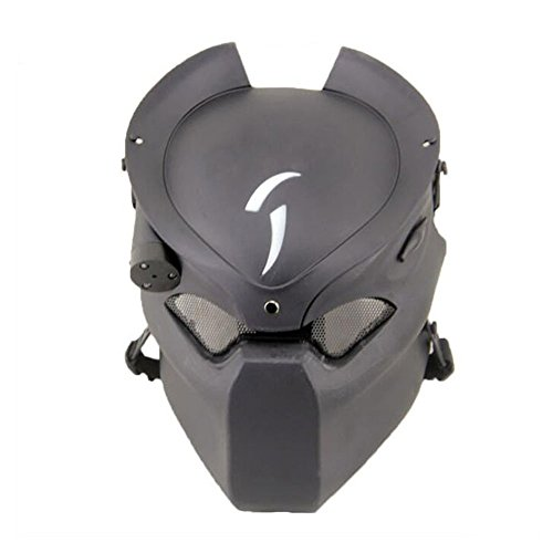 ATAIRSOFT Predator Tactical Protective Airsoft Metal mesh Alien Full Face Mask With Lamp ()