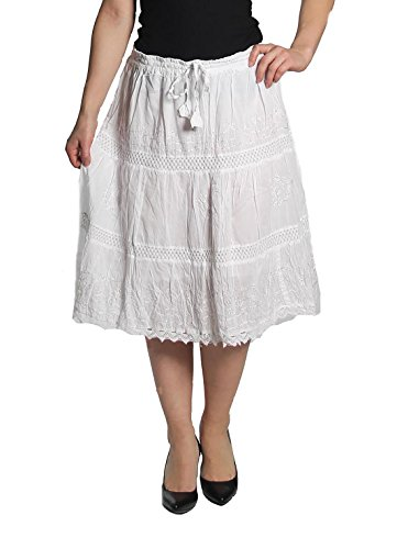 - KayJay Styles Solid Color Bohemian Hippie Belly Gypsy Short Cotton Mid Length Skirt (White) One Size