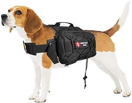 Ultrafun Upgraded Tactical Dog Backpack Adjustable Weighted Service Dog Pack Saddle Bag for Medium & Large Dog Travel Camping Hiking Adventure
