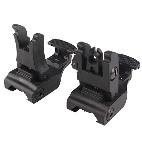 GVN Polymer Folding Tactical Flip up Sight Rear Front Sight Mount Set for Weaver / Picatinny Rails