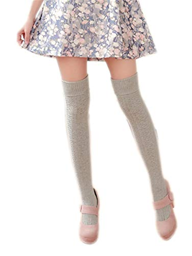 - AnVei-Nao Womens Girls Winter Over Knee Leg Warmer Knit Crochet Socks Leggings Grey