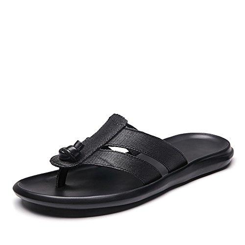 de Antideslizante para Zapatos de de Suela de Correa Cuero Goma Black Playa Casual Sandalias Zapatillas con de Chandal Hombre Genuino gXUqYt