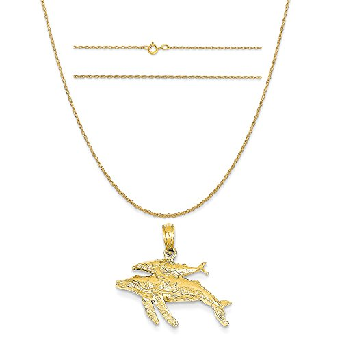 14k Yellow Gold Mother and Baby Humpback Whale Pendant on 14K Yellow Gold Rope Chain Necklace, 18