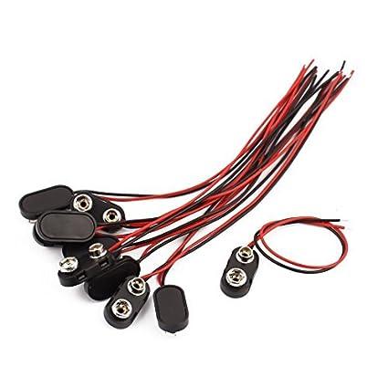 eDealMax 10Pcs 2-Wire Shell plástico de tipo I 9V batería DE 9 voltios Clip