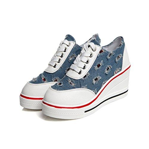 De Style Treillis Chaussures Cow boy Montante 43 Tennis Femme Bleu Mode Compensé Décontractée Sneakers 35 Jrenok Baskets Toile P5xFaqFw1