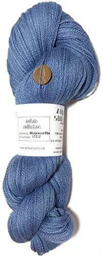 100% Baby Alpaca Lace - Hand Dyed Alpaca Silk Yarn, Solid Wedgewood Blue, Lace Weight, 100 Grams, 875 Yards, 70/30 Baby Alpaca/Mulberry Silk