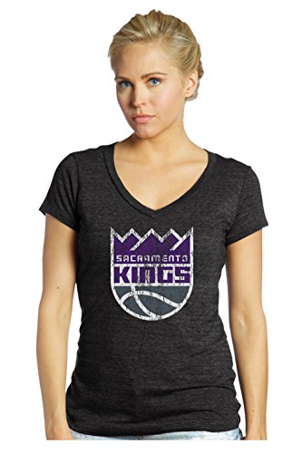 fan products of NBA Sacramento Kings Women's Premier Triblend Modest V-Neck Tee, Large, Black