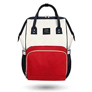 Amazon.com   Land Fashion Nappy Mummy Backpack Diaper Bags Baby Newborn  Shoulder Bag-WhiteRed   Baby 08c2a1aaecd60