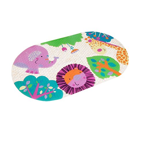 Lovely Animal Park PVC Non-Slip Bath Mat with Suction Cups Clear