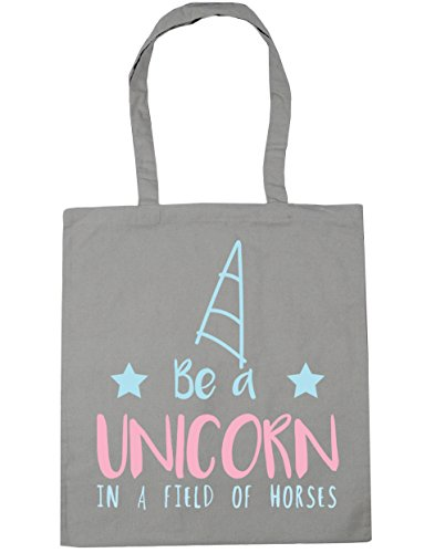 HippoWarehouse Be a unicorn in a field of horses Tote Shopping Gym Beach Bag 42cm x38cm, 10 litres Light Grey