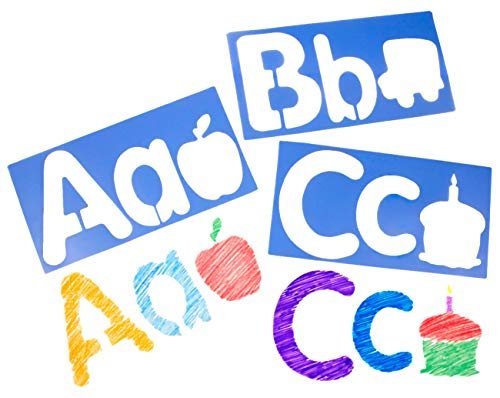 Royclo R5618 Big Alphabet and Picture Stencils, (Set of 26)